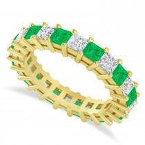 Princess Cut Diamond & Emerald Eternity Wedding Band 14k Yellow Gold (3.12ct)