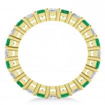 Princess Diamond & Emerald Wedding Band 14k Yellow Gold (3.12ct)