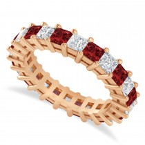 Princess Cut Diamond & Garnet Eternity Wedding Band 14k Rose Gold (3.12ct)