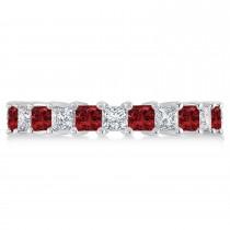 Princess Diamond & Garnet Wedding Band 14k White Gold (3.12ct)