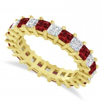 Princess Diamond & Garnet Wedding Band 14k Yellow Gold (3.12ct)