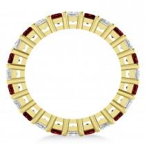 Princess Diamond & Garnet Wedding Band 14k Yellow Gold (3.12ct)