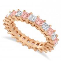 Princess Cut Diamond & Morganite Eternity Wedding Band 14k Rose Gold (3.12ct)