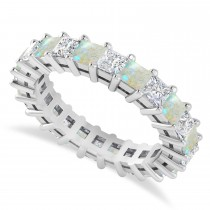 Princess Cut Diamond & Opal Eternity Wedding Band 14k White Gold (3.12ct)