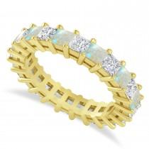 Princess Cut Diamond & Opal Eternity Wedding Band 14k Yellow Gold (3.12ct)
