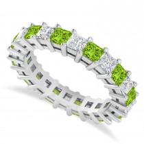 Princess Diamond & Peridot Wedding Band 14k White Gold (3.12ct)