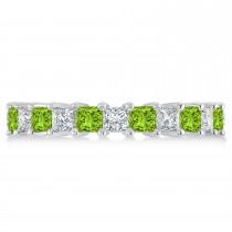 Princess Diamond & Peridot Wedding Band 14k White Gold (3.12ct)