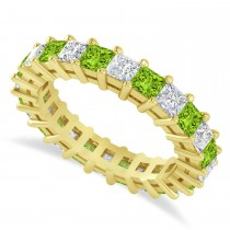 Princess Diamond & Peridot Wedding Band 14k Yellow Gold (3.12ct)