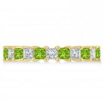 Princess Diamond & Peridot Wedding Band 14k Yellow Gold (3.12ct)