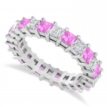 Princess Diamond & Pink Sapphire Wedding Band 14k White Gold (3.12ct)