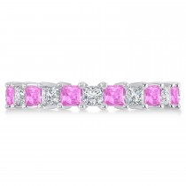 Princess Diamond & Pink Sapphire Wedding Band 14k White Gold (3.12ct)