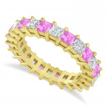 Princess Cut Diamond & Pink Sapphire Eternity Wedding Band 14k Yellow Gold (3.12ct)
