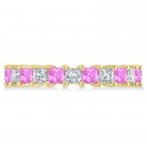 Princess Diamond & Pink Sapphire Wedding Band 14k Yellow Gold (3.12ct)