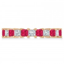 Princess Diamond & Ruby Wedding Band 14k Rose Gold (3.12ct)