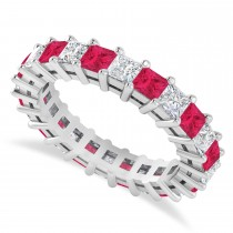 Princess Diamond & Ruby Wedding Band 14k White Gold (3.12ct)