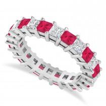 Princess Cut Diamond & Ruby Eternity Wedding Band 14k White Gold (3.12ct)