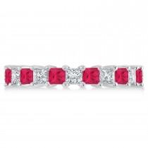 Princess Diamond & Ruby Wedding Band 14k White Gold (3.12ct)