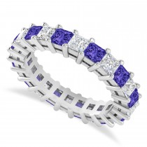 Princess Diamond & Tanzanite Wedding Band 14k White Gold (3.12ct)
