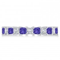 Princess Diamond & Tanzanite Wedding Band 14k White Gold (3.12ct)