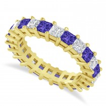 Princess Diamond & Tanzanite Wedding Band 14k Yellow Gold (3.12ct)