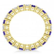Princess Diamond & Tanzanite Wedding Band 14k Yellow Gold (3.12ct)