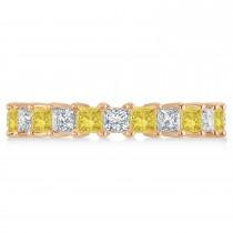 Princess Yellow & White Diamond Wedding Band 14k Rose Gold (3.12ct)