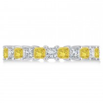 Princess Yellow & White Diamond Wedding Band 14k White Gold (3.12ct)