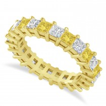 Princess Cut Yellow Diamond Eternity Wedding Band 14k Yellow Gold (3.12ct)
