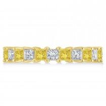 Princess Yellow & White Diamond Wedding Band 14k Yellow Gold (3.12ct)