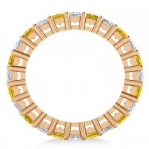 Princess Diamond & Yellow Sapphire Wedding Band 14k Rose Gold (3.12ct)