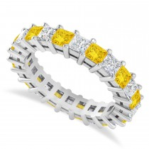 Princess Diamond & Yellow Sapphire Wedding Band 14k White Gold (3.12ct)