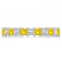 Princess Diamond & Yellow Sapphire Wedding Band 14k White Gold (3.12ct)