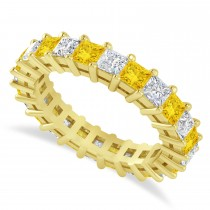 Princess Cut Diamond & Yellow Sapphire Eternity Wedding Band 14k Yellow Gold (3.12ct)