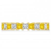Princess Diamond & Yellow Sapphire Wedding Band 14k Yellow Gold (3.12ct)
