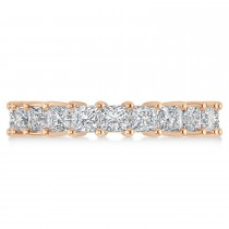 Princess Cut Diamond Eternity Wedding Band 14k Rose Gold (3.96ct)
