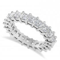 Princess Cut Diamond Eternity Wedding Band 14k White Gold (3.96ct)