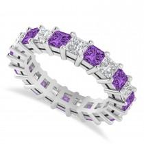 Princess Diamond & Amethyst Wedding Band 14k White Gold (4.18ct)