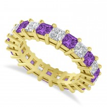 Princess Diamond & Amethyst Wedding Band 14k Yellow Gold (4.18ct)