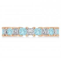 Princess Diamond & Aquamarine Wedding Band 14k Rose Gold (4.18ct)