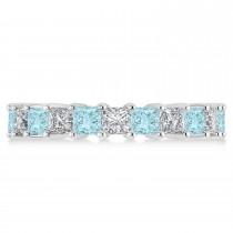 Princess Diamond & Aquamarine Wedding Band 14k White Gold (4.18ct)