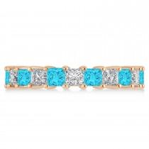 Princess Blue & White Diamond Wedding Band 14k Rose Gold (3.96ct)