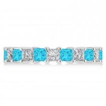 Princess Blue & White Diamond Wedding Band 14k White Gold (3.96ct)