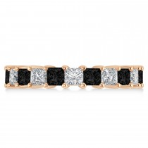 Princess Black & White Diamond Wedding Band 14k Rose Gold (3.96ct)