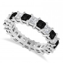 Princess Black & White Diamond Wedding Band 14k White Gold (3.96ct)