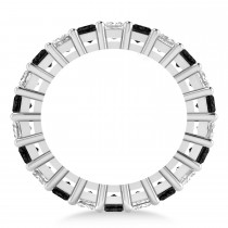 Princess Black & White Diamond Wedding Band 14k White Gold (3.96ct)