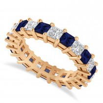 Princess Cut Diamond & Blue Sapphire Eternity Wedding Band 14k Rose Gold (4.18ct)