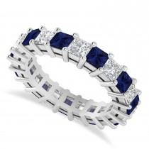 Princess Cut Diamond & Blue Sapphire Eternity Wedding Band 14k White Gold (4.18ct)
