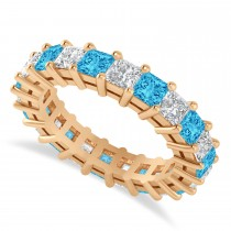 Princess Cut Diamond & Blue Topaz Eternity Wedding Band 14k Rose Gold (4.18ct)