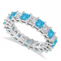Princess Cut Diamond & Blue Topaz Eternity Wedding Band 14k White Gold (4.18ct)