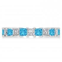 Princess Diamond & Blue Topaz Wedding Band 14k White Gold (4.18ct)